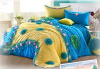 Korean Princess bedding set twin size 6pcs romantic patchwork bedspread/bed linen/bed sheet/bed skirt blue and pink bed set