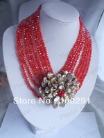 fashion red crystal flower necklace