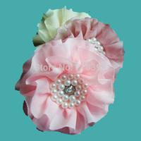 "30pcs Wholesale 3"" baby girls Tulle Chiffon flowers Rhinestone Pearl Center Flat Back for baby hair headband 19Colors headbands"