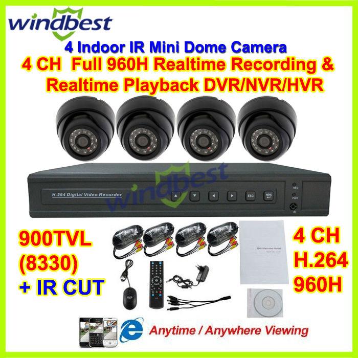 Hd. 900 tvl ir 4ch plein 960h 1080p hdmi. h. 264 3g wifi réseau cctv dvr/nvr/hvr mini kit caméra dôme système de surveillance vidéo