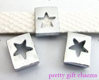 free shipping 100pcs 8mm alloy Star Slide Charms DIY Accessories.
