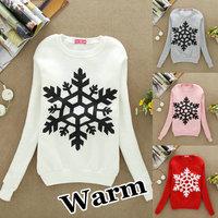 S49 Autumn-Winter New 2013 Free Shipping Women's hoodies Sweatshirt Christmas Snowflake Round Collar Ladies Fleece