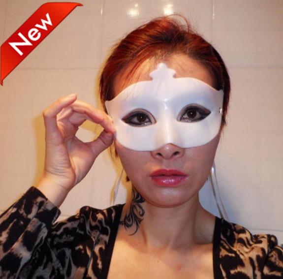 Transporte 24pcs/lot livre ano novo máscara branca adereços de casamento traje do partido disfarce Venetian raposa plástico carnaval(China (Mainland))