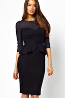 long sleeve sophisticated Mesh Cut out Midi Dress with Peplum LC6189   winter dresses new fashion 2013 dear lover