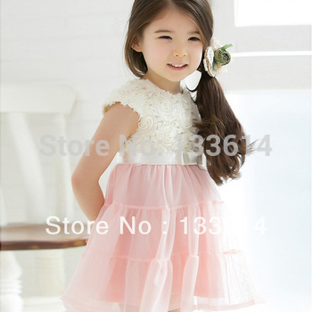 PINK NEW Girls Kids One Piece Dress Tutu Dress Roses Tops Costume 2-7Y Free&Drop Shipping