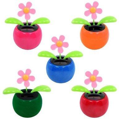 2pcs/lot Novelty Toys Flip Flap Solar Powered Flower for Car Flowerpot Swing Solar Flower Happing Dancing Toy E2495(China (Mainland))