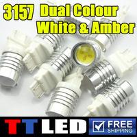 2 X 4W 3157 3457 3057 4157 P27 Switchback LED Turn Signal Lights brake light Bulbs NON SRCK Dual Color White Amber #G020701