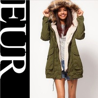 Free Shipping Fashion Brand Women's army green berber fleece Lining Casual winter coat Trench Ladies Outerwear women jackets
