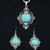 Vintage Look Tibetan Silver Plated Flower Cross Turquoise Necklace Earring Jewelry Sets TS04