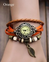 New Arrivals Leather Hand Knit Vintage Watches,Bracelet Wristwatches Pendant Dropshipping 5 Colors 18184