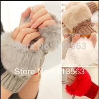 Fashion Winter Arm Warmer Fingerless Gloves, Knitted Fur Trim Gloves Mitten