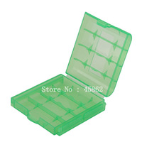 free shipping +tracking number 200PCS Green Plastic Case Holder Storage Box for AA AAA Battery