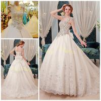 2014 High Quality Organza Wedding Dresses Scoop Neckline Luxury Crystal Wedding Dress Ball Gown vestido de noiva Free shipping