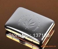 Hot! Free shipping Fashion Wholesale Creative Silver 16 Sticks Automatic Cigarette Case Genuine Silver Maple Leaf Novelty Gift