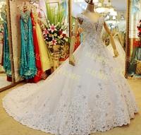 vestido de noiva Top Quality Sexy V-neck Luxury Crystal Wedding Dress 2014 Ball Gown Fashionable Wedding Dresses Bridal Gown