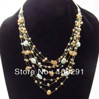 Free ship!!!!!Layered Harmony Freshwater Dyed Mix Pearls Multistrand Necklace