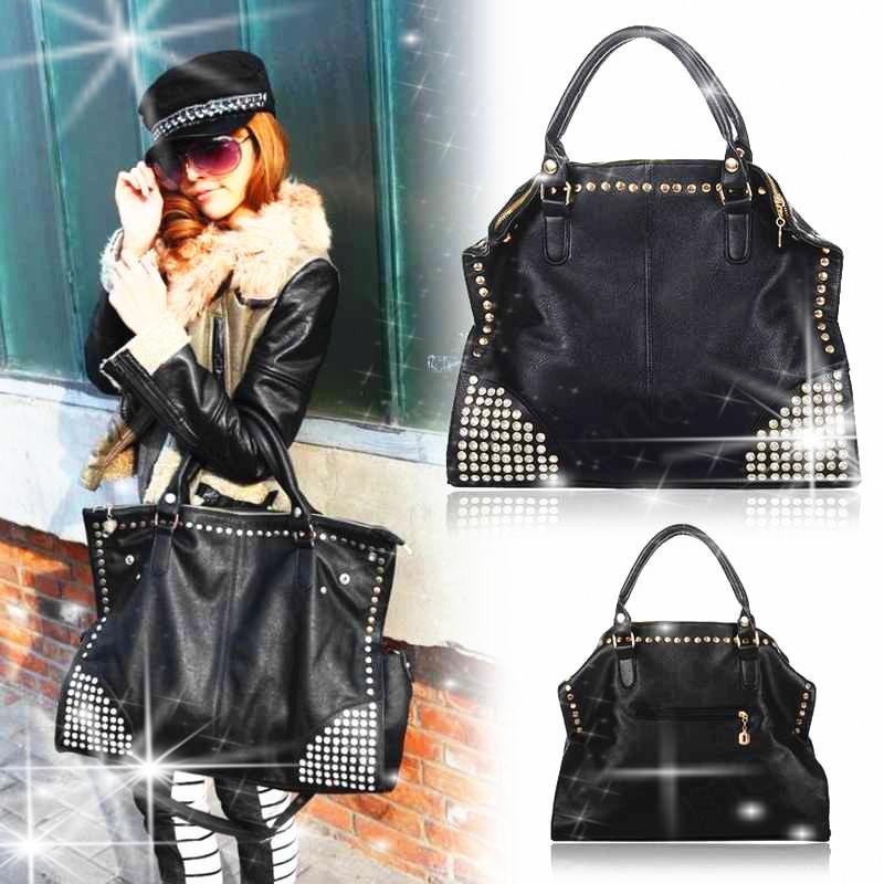 Women Handbag Fashion Shining Rivet Fake Diamond Punk Bag PU Leather Handbags Shoulder Bags Bolsas Femininas(China (Mainland))