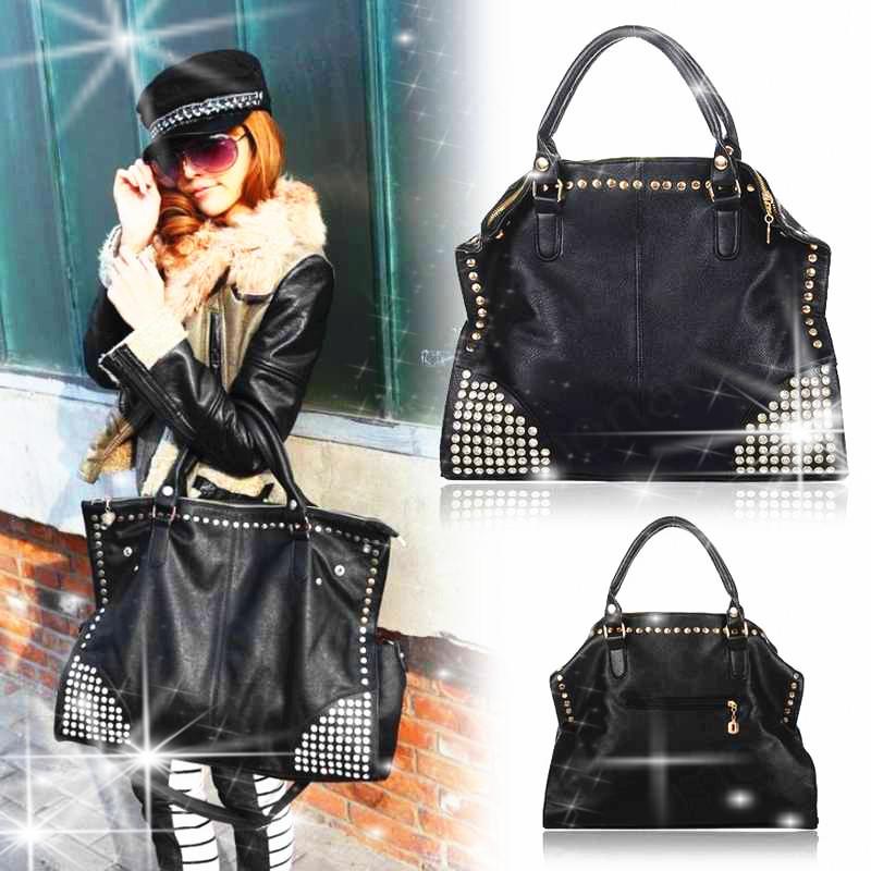 Women Handbag Fashion Shining Rivet Fake Diamond Punk Bags PU Leather Handbags Shoulder Bags Messenger bags Bolsas Femininas(China (Mainland))