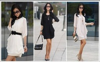 Free shipping 2013 Women's Chiffon lantern sleeve dress Casual Crew Neck Trendy Party Club Mini Dress T-shirt Blouse