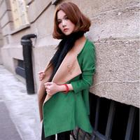 2014 High Quality Autumn Winter Korean Style Women's Fashion Elegant Woolen Overcoat Slim Long Woolen Outerwear G6175