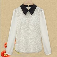 Free shipping blouses for women 2013 New fashion lace flower printed elegant shirt women casual zaza lace blouse XXXL