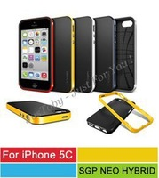 For iPhone 5C Neo Hybrid,SGP Spigen Bumblebee TPU+PC Bumper Cases For iPhone 5C With Retail Package 10 Colors 50pcs/l Freeship