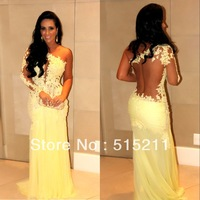 Sexy See Through Lace Prom Evening Dresses 2014 Celebrity Style Vestidos Formales New Arrival For Special Occasion