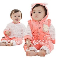 Retail, 2013 Winter Clothes Set for Baby Girls, Lovely thickening Baby Girls 3pcs Set(Long sleeve+Vest+Pants), Free shipping