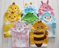2014 free shipping Retail 1 set Top Quality!new kids fashion bath terry infant bath towel Baby boy girl Animal hoody bathrobe