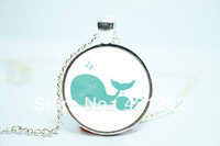 10pcs/lot Mothers Day Gift Idea, Gifts For Mom, Mom And Baby Whale Necklace Glass Cabochon Necklace