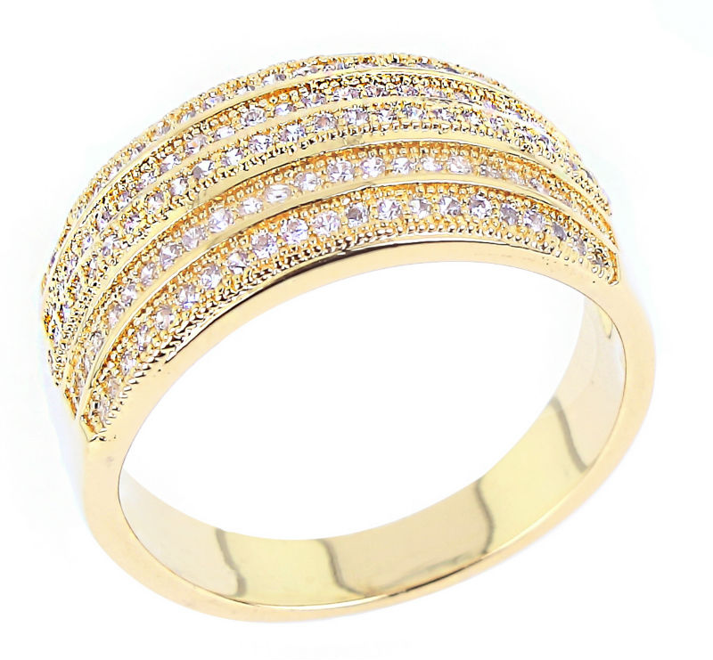 DC1989 Latest Design Office Ladies Classic 18K Gold Plated Cocktail Rings AAA Cubic Zircon Top Quality