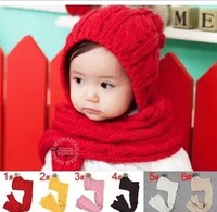2014 free shipping Retail 1 pcs Top Quality Baby knitted hat & scarf child hat for autumn and winter many color in stock