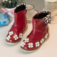 2014 Autumn and winter boots velvet leopard print bow female children boots girls princess shoes snow boots with shoe lace