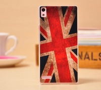For Huawei P6 Back Case Ascend  P6 Cute Cartoon Case Cover Transparent Side Mobile Phone Protective Cover UK Flag