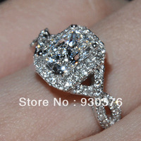 Luxury 18K Gold Plated 1carat NSCD simulated diamond cushion cut halo Engagement rings for women jewelry,925 silver wedding ring