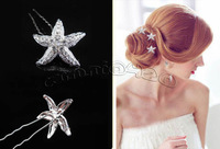 Wholesale 12pcs Wedding Bridal starfish Hair Pins Flower Crystal Hair Clips Bridesmaid Jewelry U Pick Free Shipping