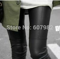 Fashion PU Leather Patchwork Legging Super Repair Ankle Trousers Faux Leather Pants Leggins Elastic Slim Black Leggins For Women