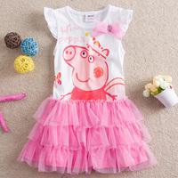 Free shipping!New style 18M-6Y Peppa Pig girl girls kids short sleeve summer TUTU dress dresses 5pcs/lot  S2103#