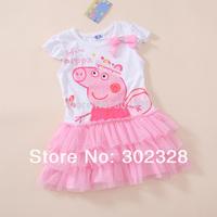 2014 Girls summer Dress Peppa Pig Tutu dress New fashion short Sleeves pepa pig Kids Cartoon Costume Yarn dresses  Free Shipping