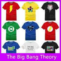 Free Shipping!The Big Bang Theory Sheldon Cooper Superman Flash T-Shirts Short Sleeve 100% Cotton Men's T-Shirt,Top Quality