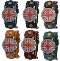 BRITAIN FLAG Union Jack Vintage Men Belt Genuine Leather Strap Wristwatch Wide Band UK flag Dial Casual Quartz Watch