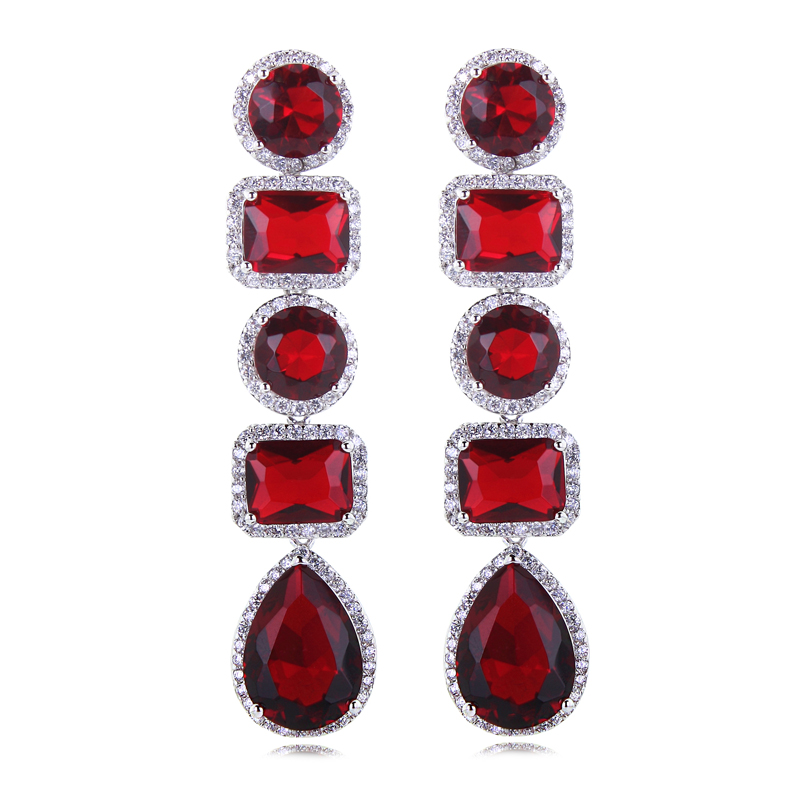 New female jewelry fashion luxury High Quality party Platinum Plated Allergy Free zircon earrings multicolor Valentine Day Gift(China (Mainland))