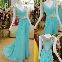 2014 New Arrival Custom Made Wedding Party Dress Sexy Mint Green Chiffon Beaded Evening Prom Long Dress