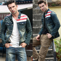 New American flag jeans jacket for men Fashion motorcycle jeans short jacket do old jeans denim coat