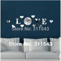 3d mirror wall clocks DIy love decoration mirror wall stickers clock fashion 3d plastic mirror watches home decals M217