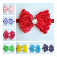 Baby Chiffon Rose Flowers Headbands Girls Bows Shiny Diamond Center Elastic Headwear Baby Bow Hair Bands Hair Accessories 30pcs