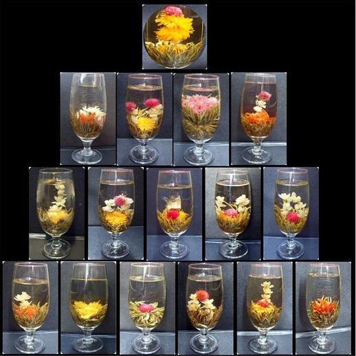 Handmade Blooming Flower Tea 16 Kinds Chinese Dragon Ball Blooming Tea Flower Herbal Artistic Flower Tea