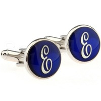 Fashion  Blue  Round Letter E  Cufflinks  - ZT9108  Crazy Promotion