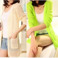Sweaters 2013 women fashion New Candle Colors Knitted Cardigans Women hollowed-out Full Sleeves Air-conditioned