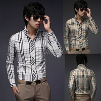 New Mens Shirts Casual Fashion Luxury Stylish Stripe Long Sleeve Plaid Grid Slim Fit Free Shipping